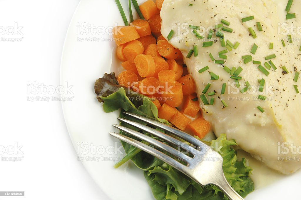 Chicken in Cream Sauce with Vegetables on White royalty-free stock photo