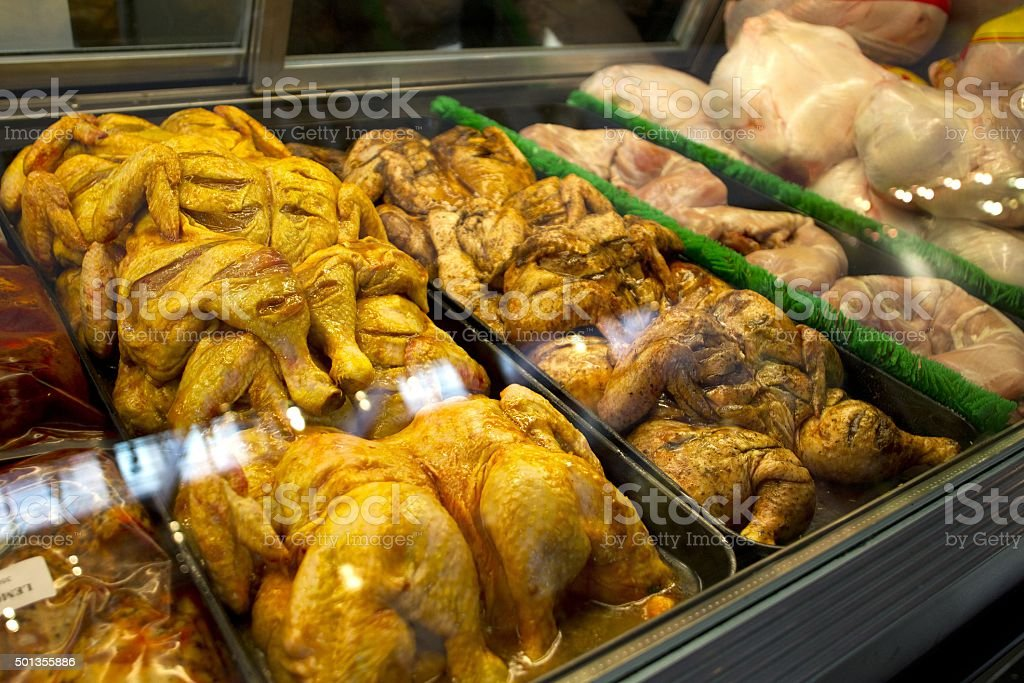 chicken in display cabinet stock photo