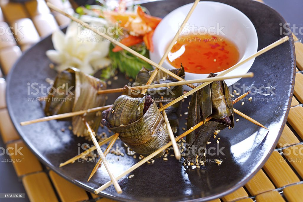 Chicken in pandanus leaves royalty-free stock photo