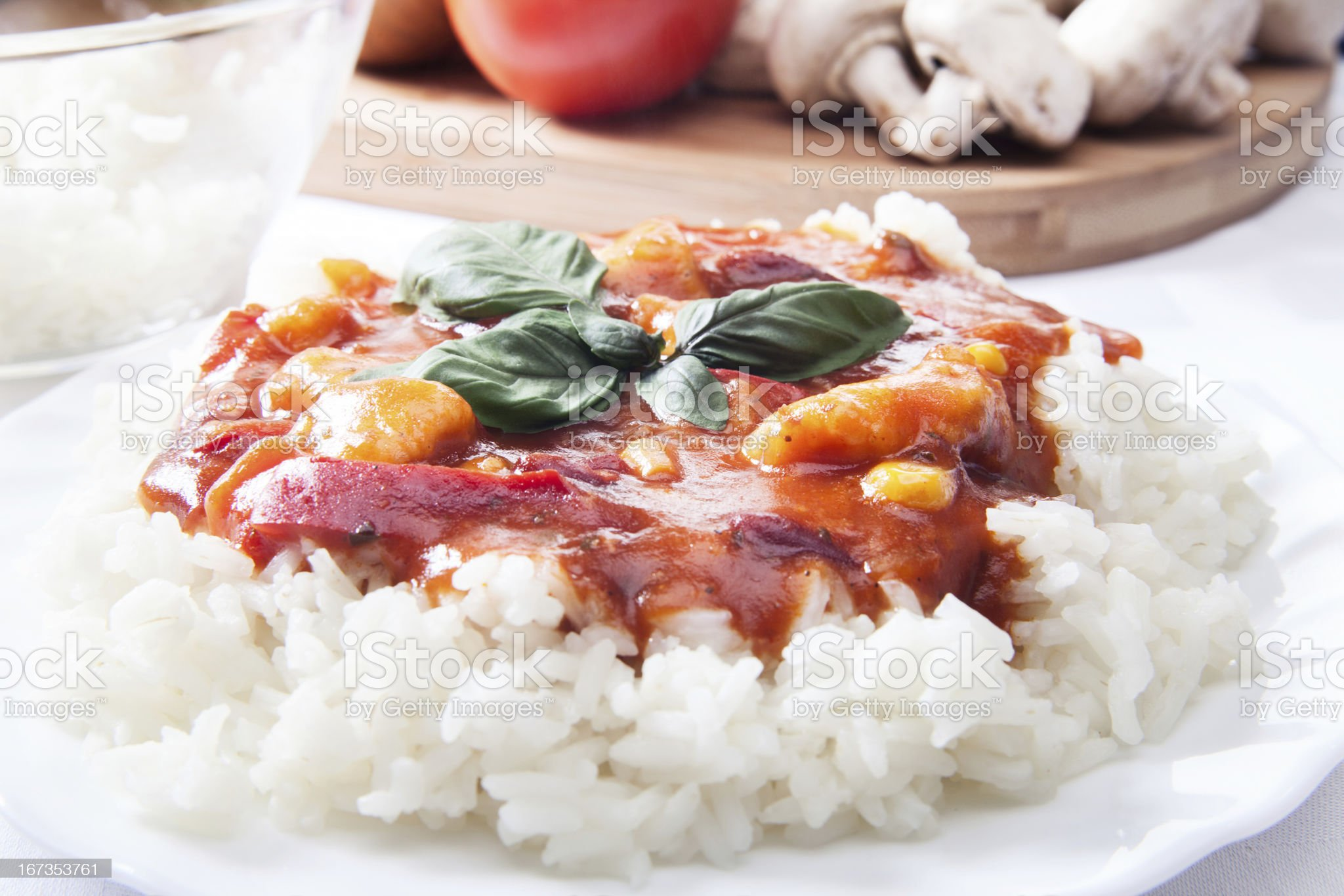 Chicken in sauce with rice royalty-free stock photo