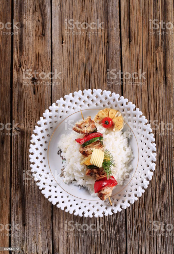 Chicken kebab and rice royalty-free stock photo