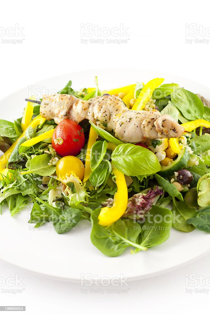Chicken Kebab with Salad royalty-free stock photo