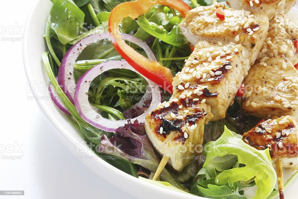 Chicken Kebabs and Salad royalty-free stock photo
