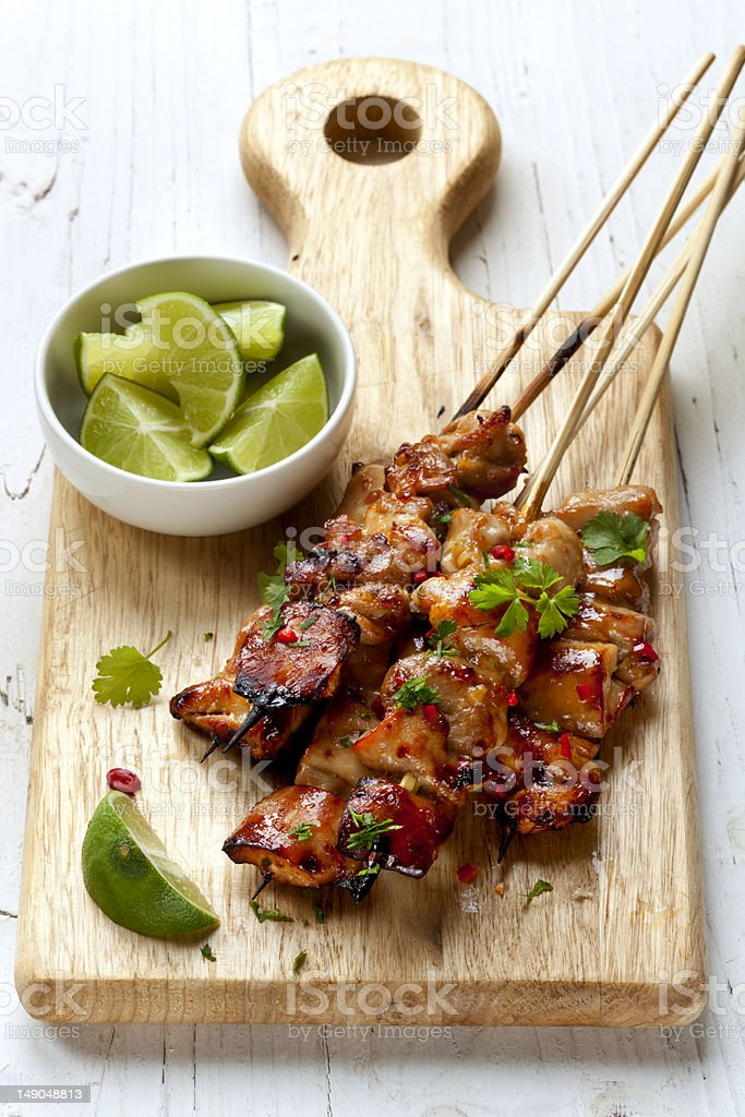 Chicken Kebabs with Lime and Chili stock photo