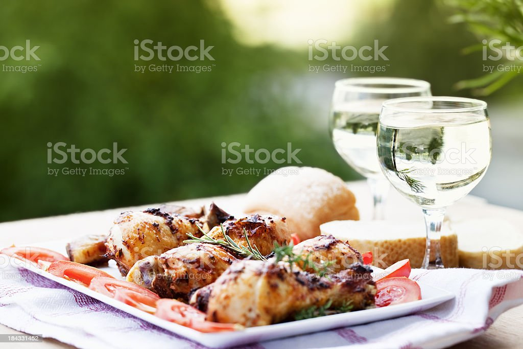 chicken leg wine summer picnic royalty-free stock photo
