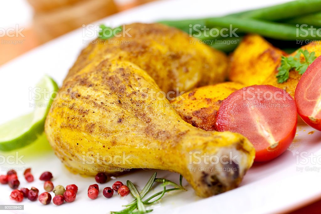 chicken leg with potato-country style royalty-free stock photo