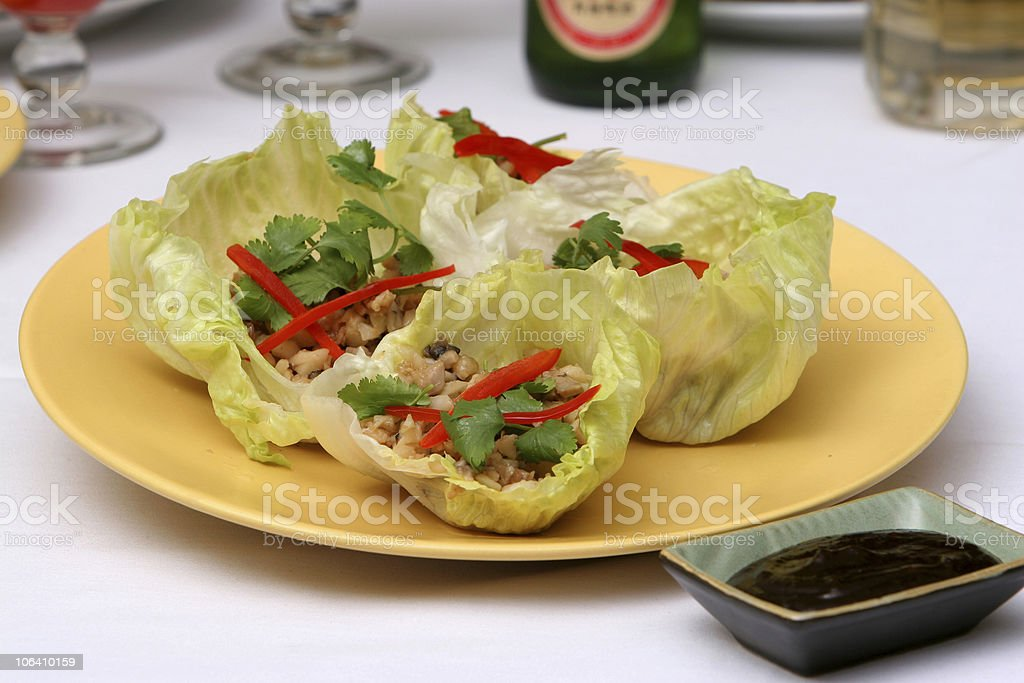 Chicken Lettuce Cup stock photo