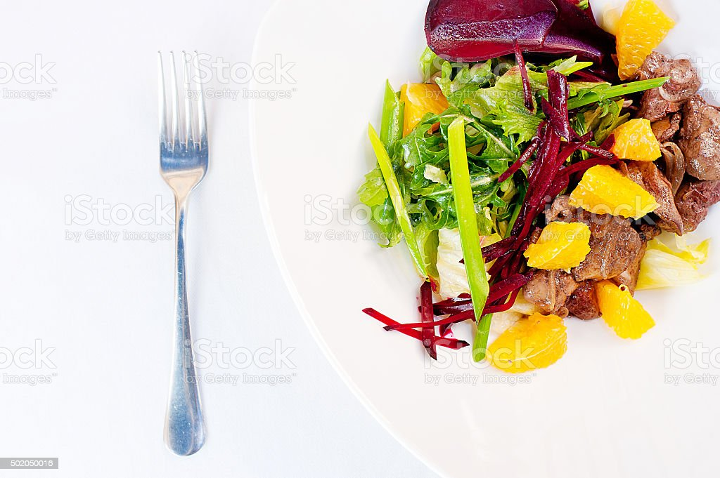 Chicken Liver and Beet-Root Salad stock photo