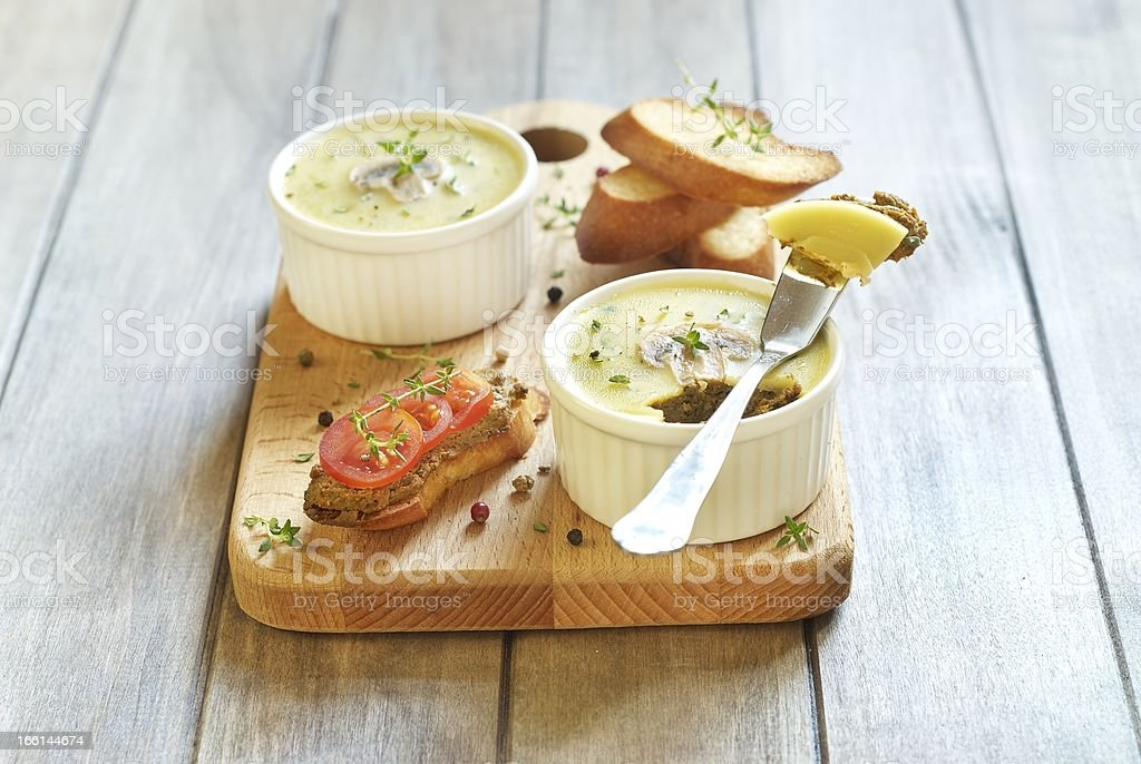 Chicken liver pate with mushrooms and thyme royalty-free stock photo
