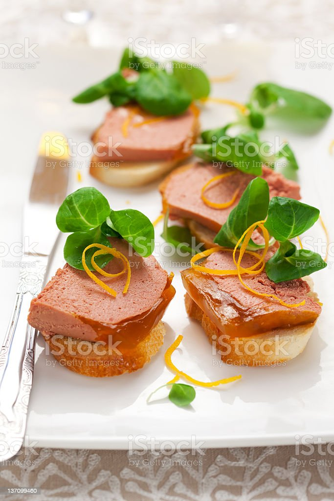 Chicken liver pate with orange jelly royalty-free stock photo