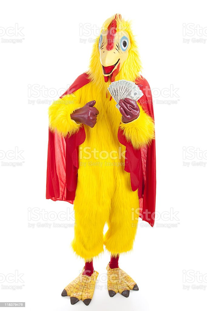 Chicken Man with Cash stock photo