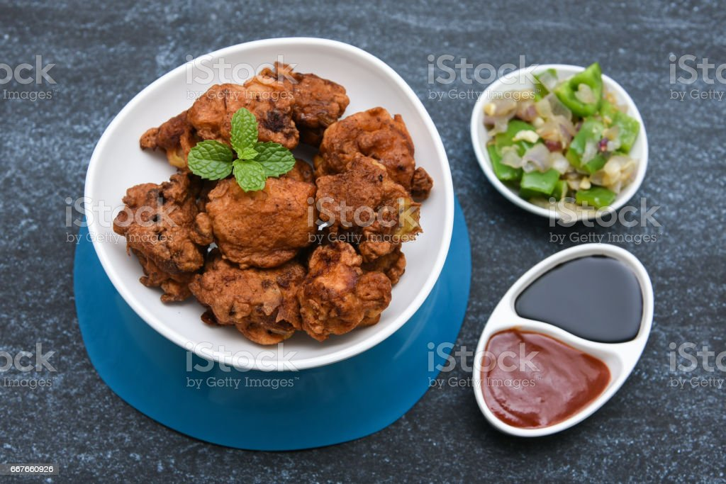 Chicken manchurian Indian spicy curry food stock photo