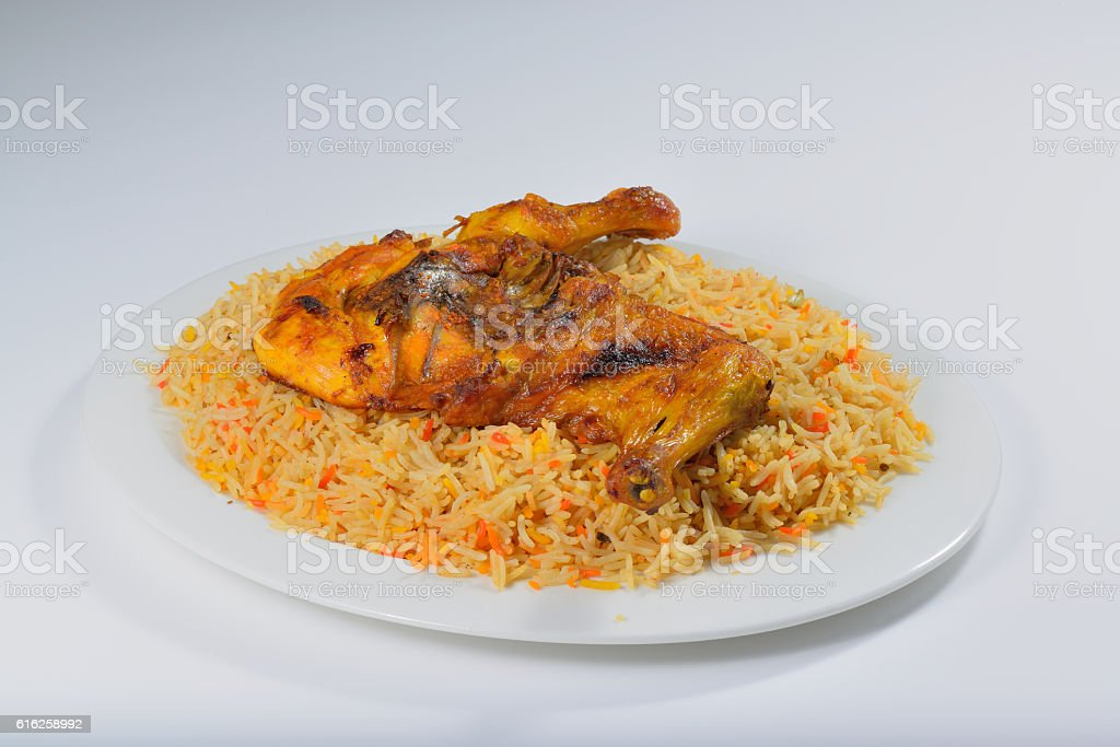 Chicken mandi or mandhi traditional arabic food stock photo