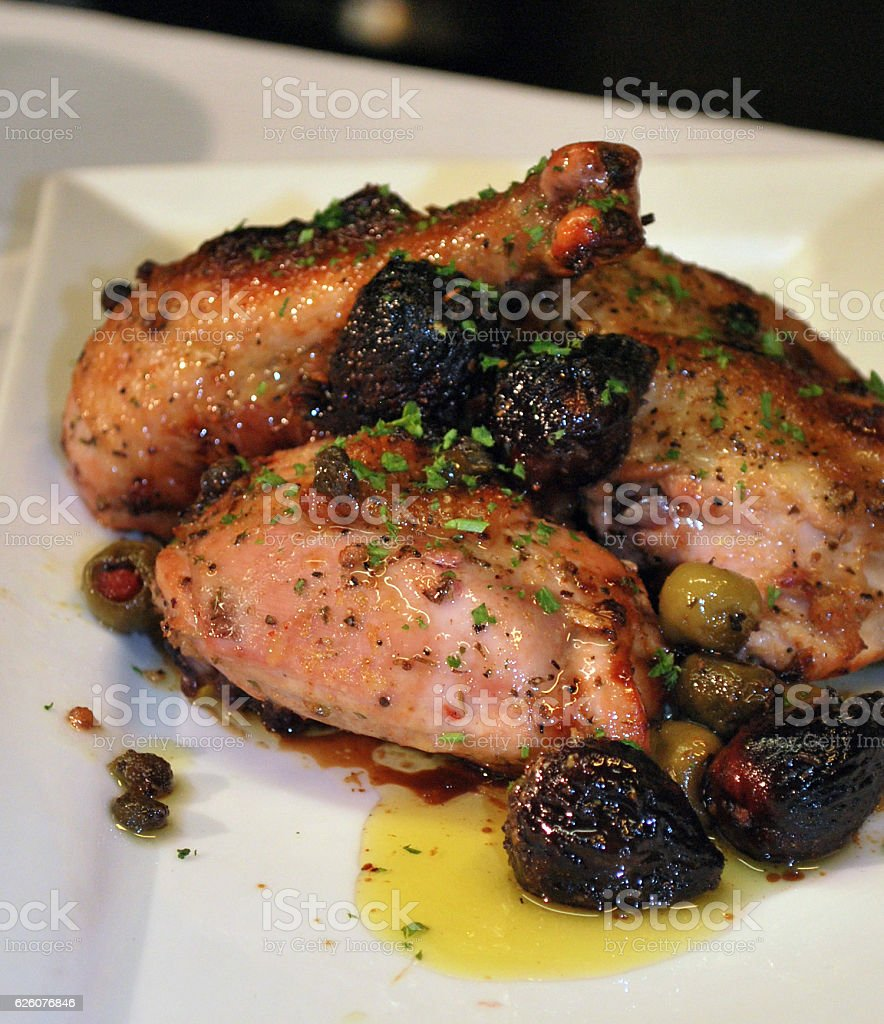 Chicken Marbella stock photo