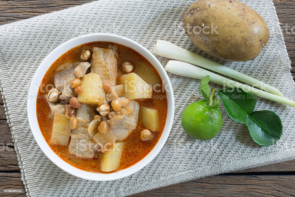 Chicken Massaman curry and ingredient spice stock photo
