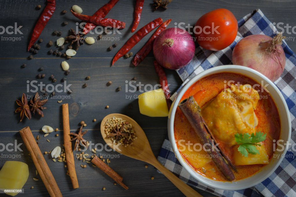 Chicken massaman curry stock photo