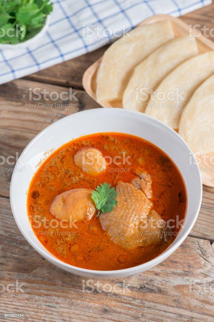 Chicken massaman curry with roti. stock photo