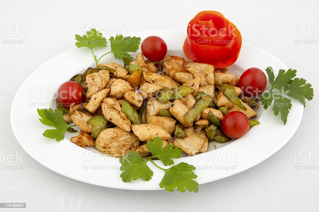 Chicken Meal on white isolated background stock photo