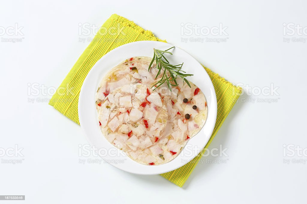 chicken meat and vegetables in aspic royalty-free stock photo