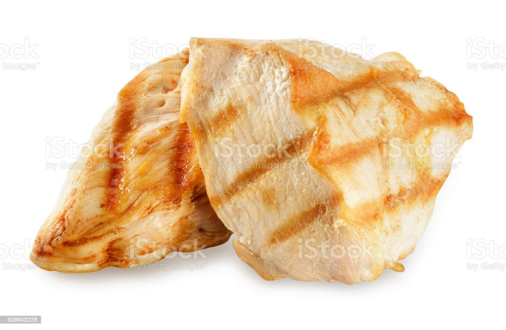 Chicken meat. Breast fillet slices isolated. With clipping path. stock photo