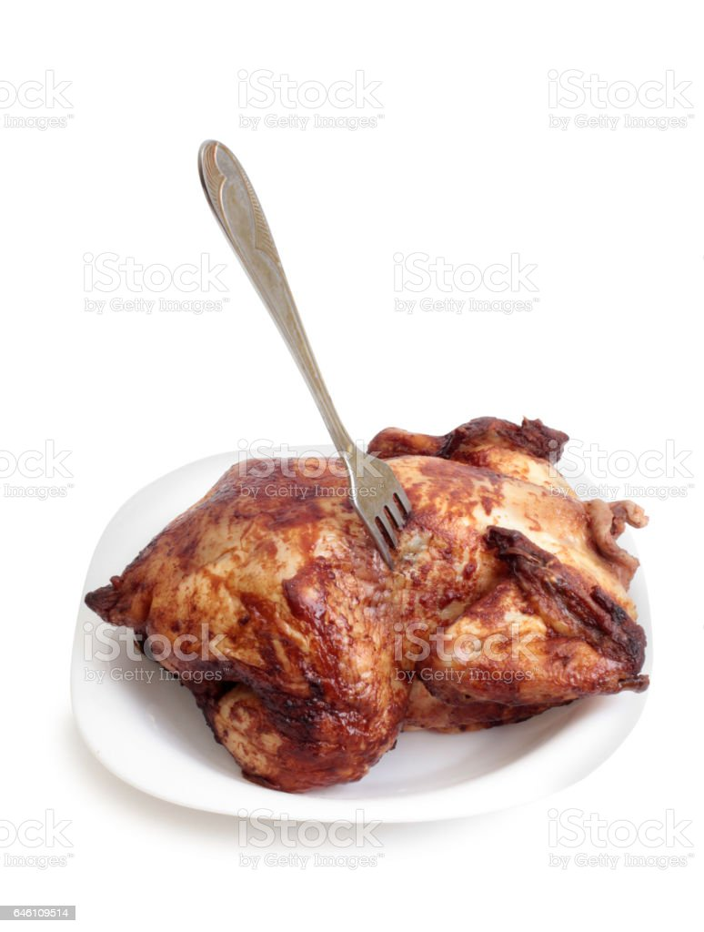 Chicken meat on white stock photo