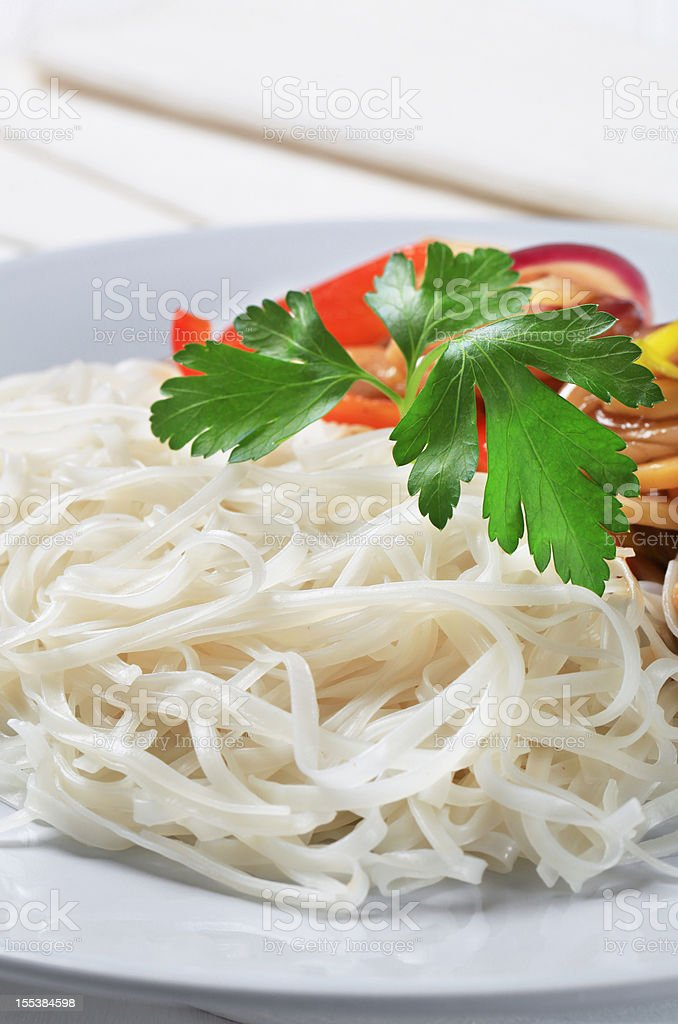 Chicken meat with rice noodls stock photo