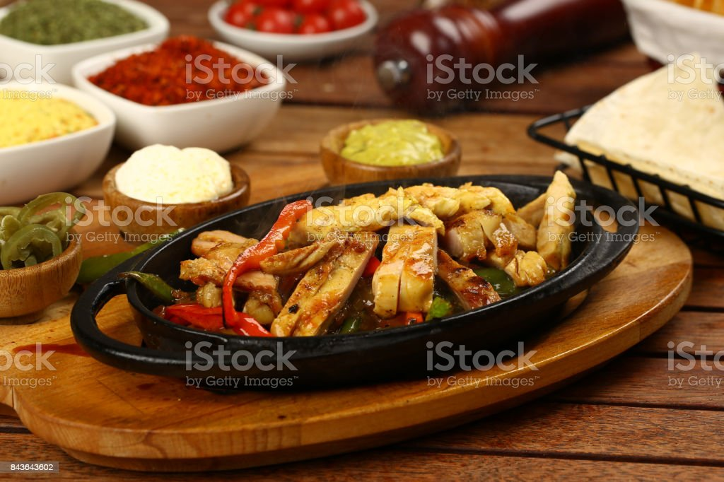 Chicken meat with sauce stock photo