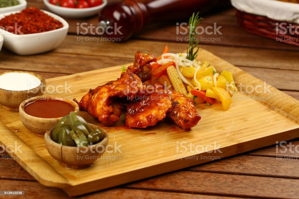 Chicken meat with tomato sauce stock photo