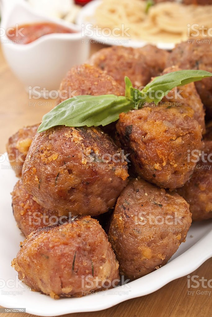 chicken meatballs on a plate royalty-free stock photo