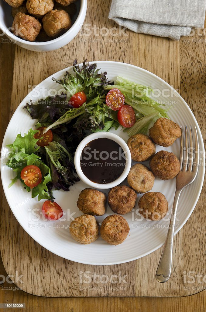 Chicken meatballs stock photo