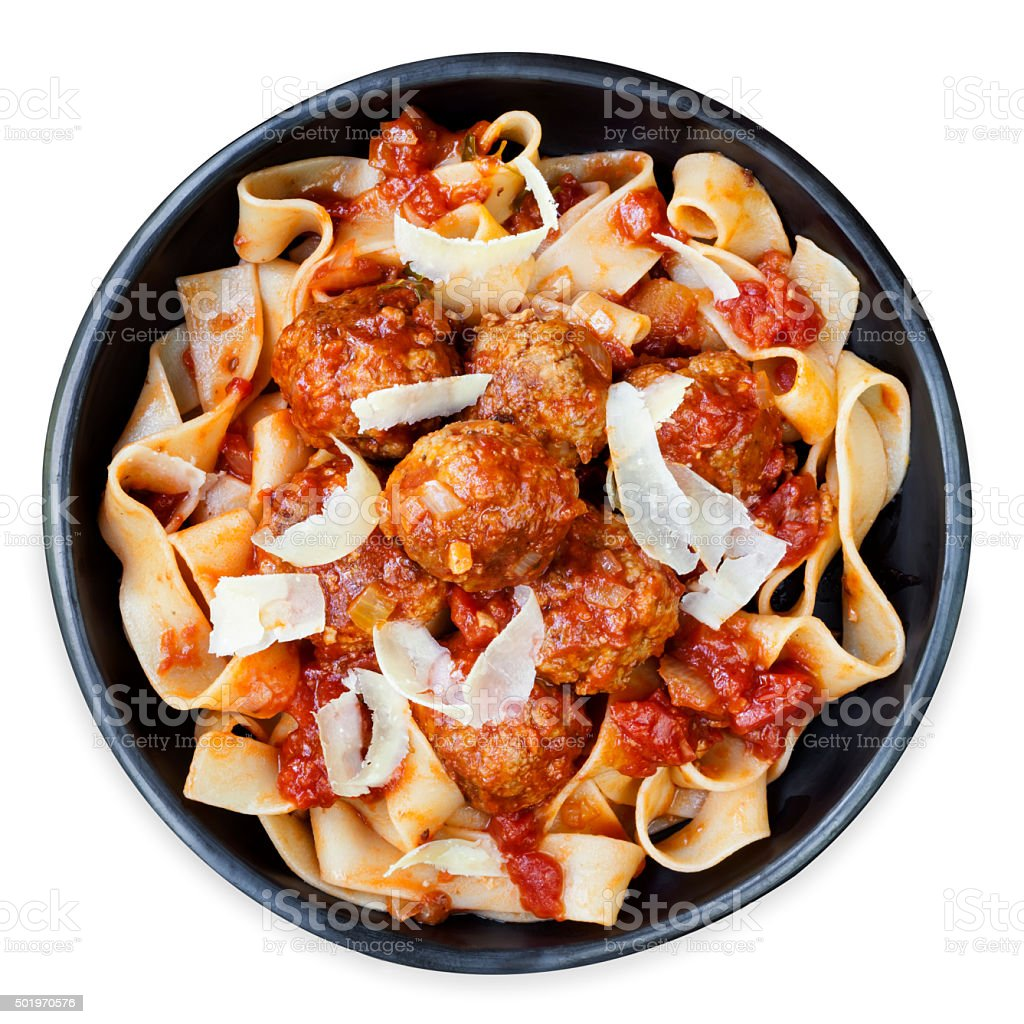 Chicken Meatballs with Pappardelle Ribbon Pasta stock photo