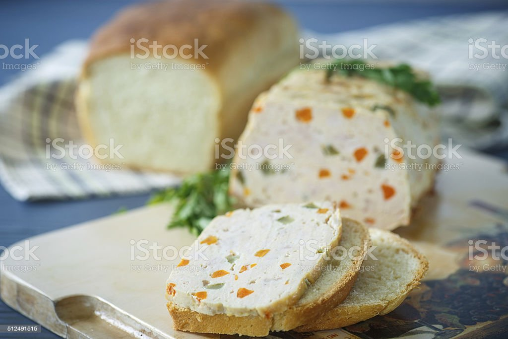 Chicken meatloaf with vegetables stock photo