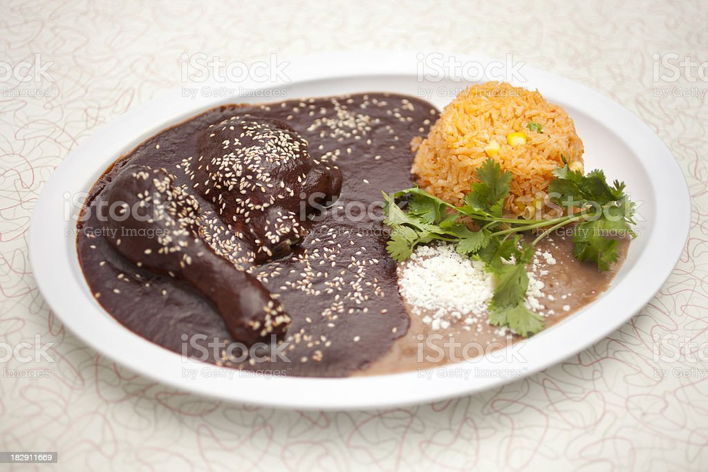 Chicken Mole Poblano stock photo