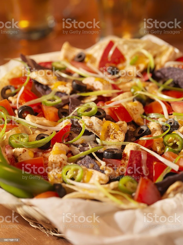Chicken Nachos with Beers royalty-free stock photo