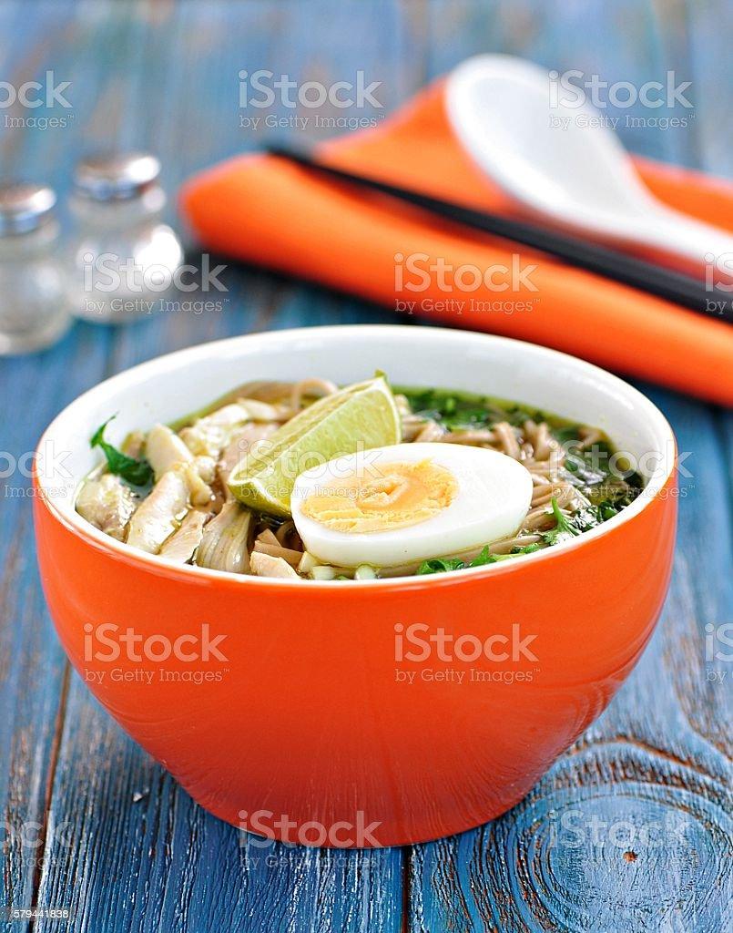 Chicken noodle soup. Asian cuisine. stock photo