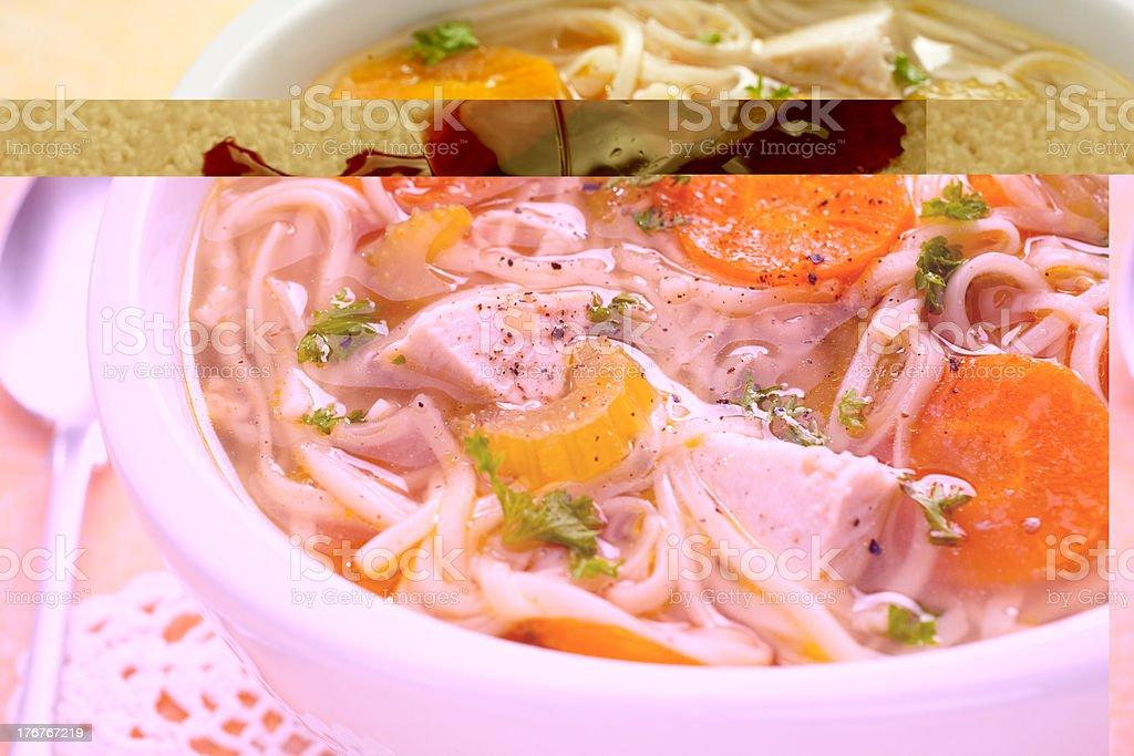 Chicken Noodle Soup Close-up stock photo