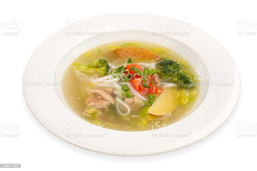 Chicken Noodle Soup isolated on white stock photo