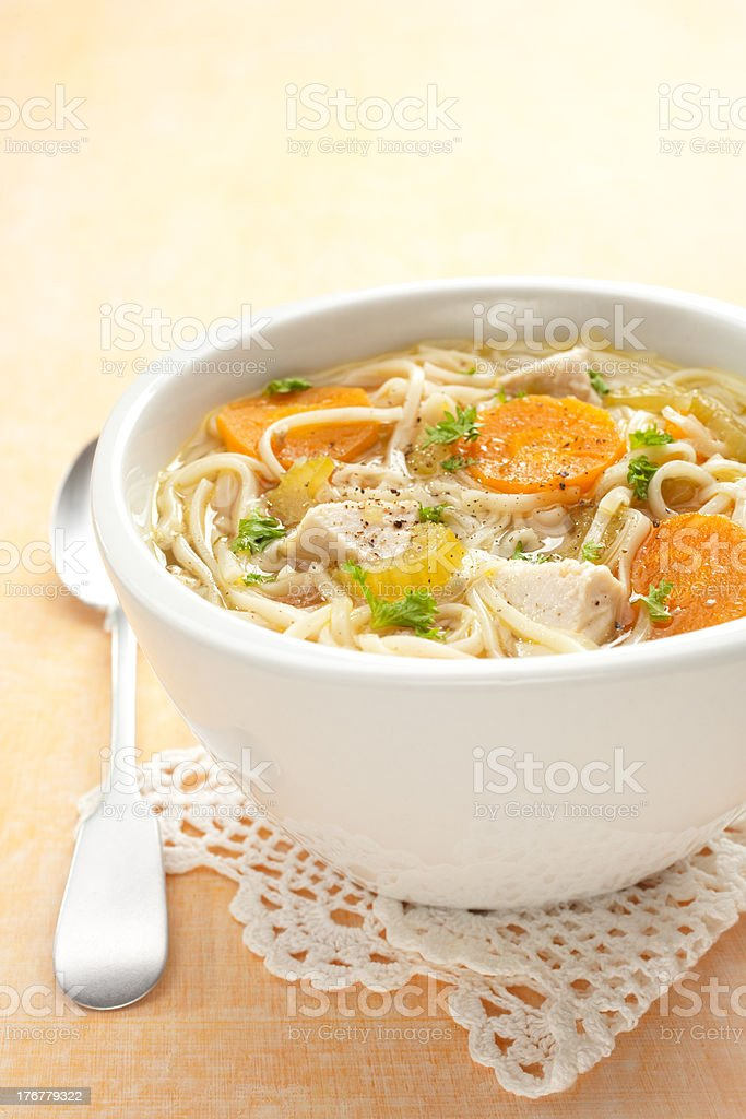 Chicken Noodle Soup Vertical stock photo