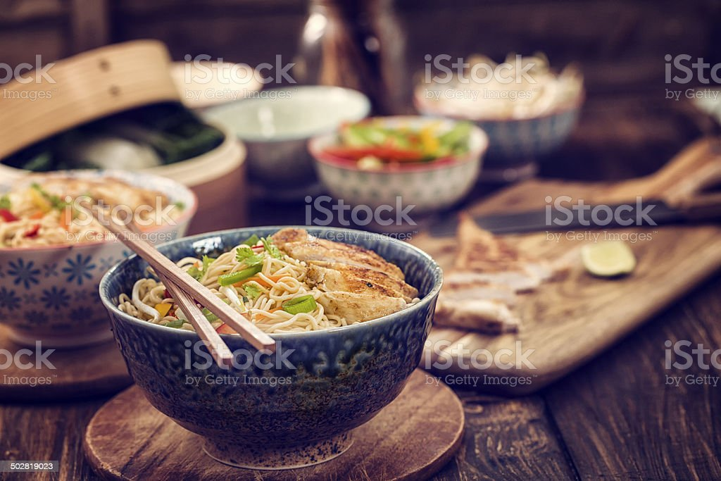 Chicken Noodle Stir Fry stock photo