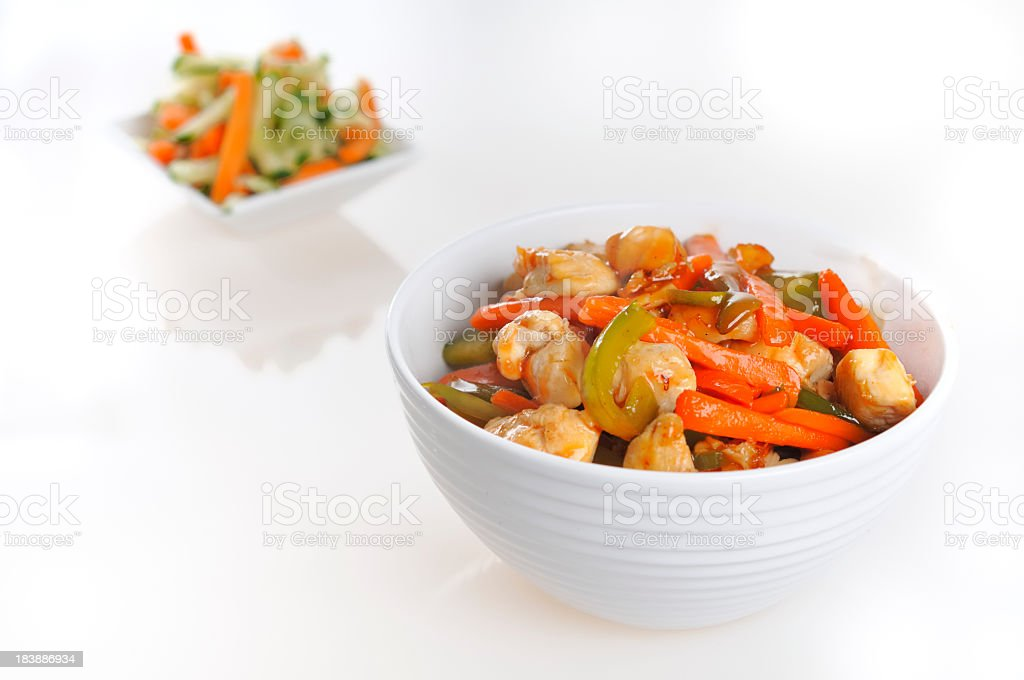 Chicken noodles stock photo