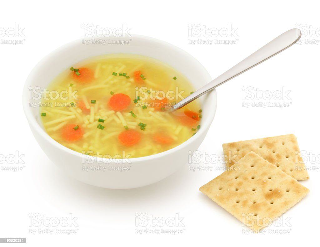Chicken Noodles Soup and Crackers stock photo
