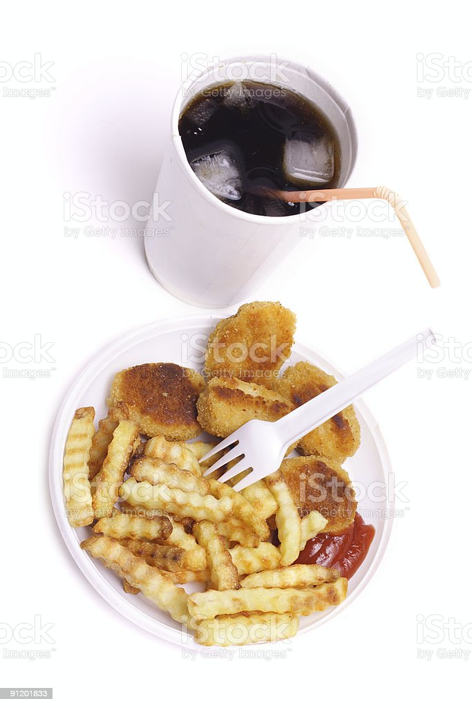 Chicken nuggets and cola stock photo
