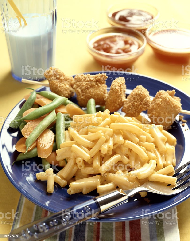 Chicken Nuggets with Macaroni and Cheese royalty-free stock photo