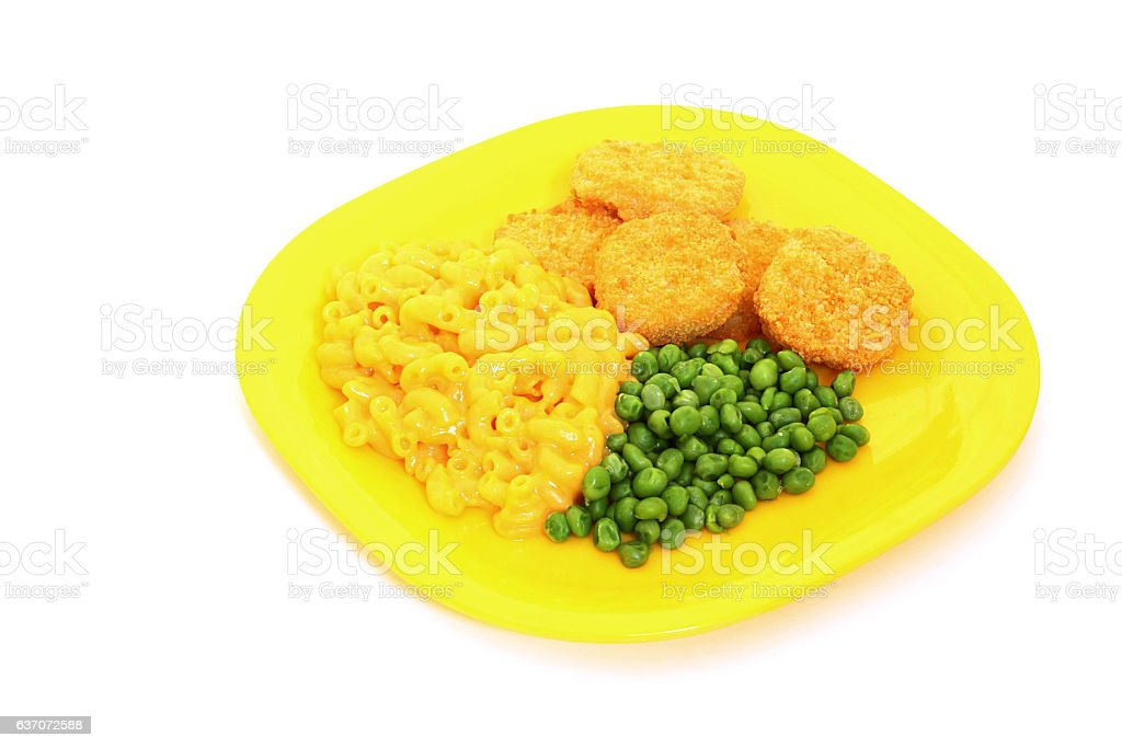 Chicken Nuggets With Macaroni and Cheese stock photo