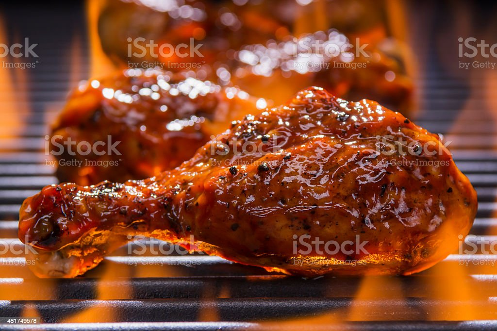 Chicken on a  Barbecue Grill stock photo