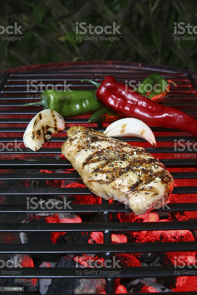 Chicken on Barbecue bbq stock photo
