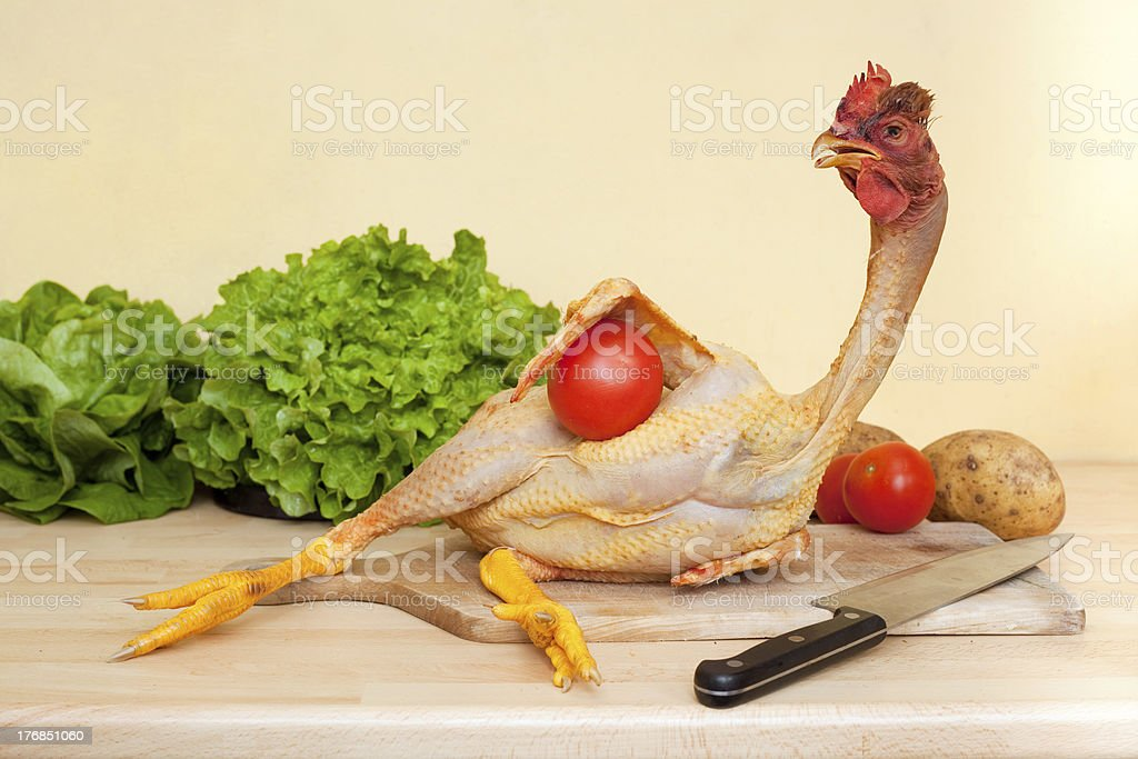 chicken on cutting board royalty-free stock photo