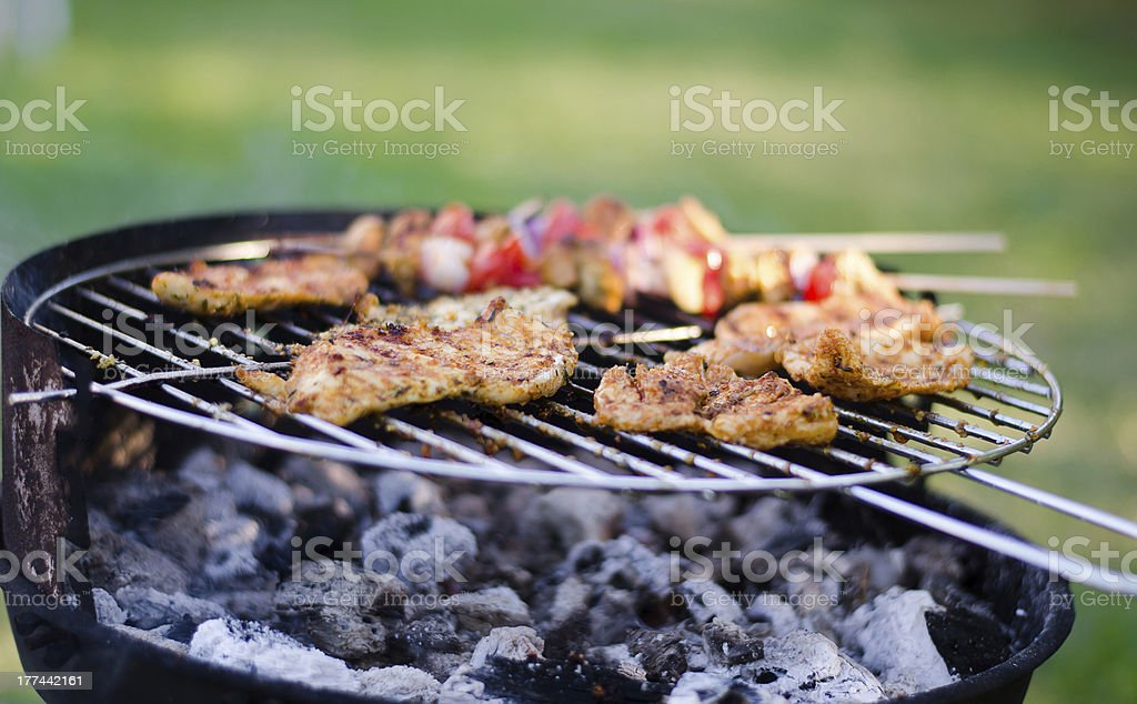Chicken on grill royalty-free stock photo