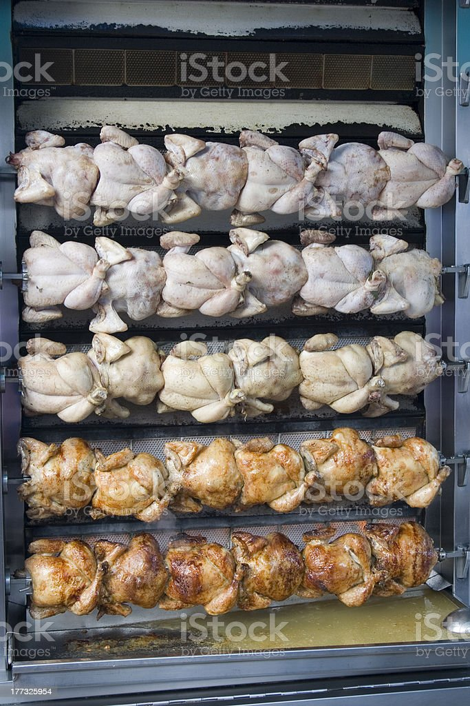 chicken on the rotisserie grill royalty-free stock photo