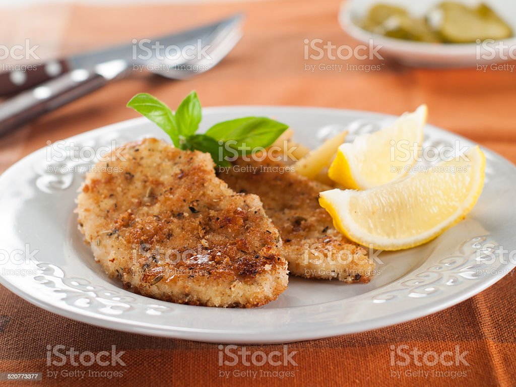 Chicken or pork schnitzel stock photo